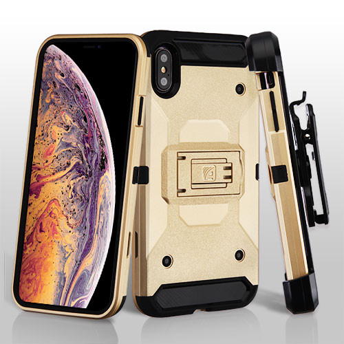 Asmyna Kinetic Hybrid Protector Cover Combo (with Black Holster) for Apple iPhone XS Max - Gold / Black
