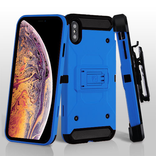 Asmyna Kinetic Hybrid Protector Cover Combo (with Black Holster) for Apple iPhone XS Max - Blue / Black