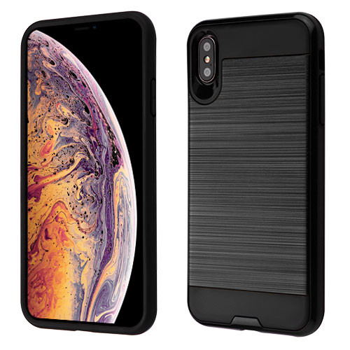 Asmyna Brushed Hybrid Protector Cover for Apple iPhone XS Max - Black / Black