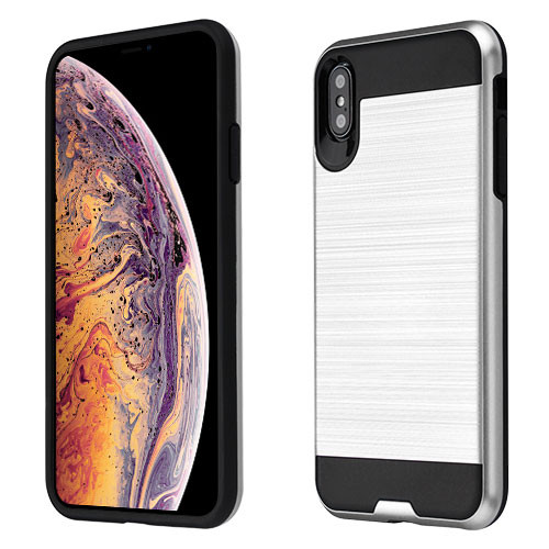 Asmyna Brushed Hybrid Protector Cover for Apple iPhone XS Max - Silver / Black