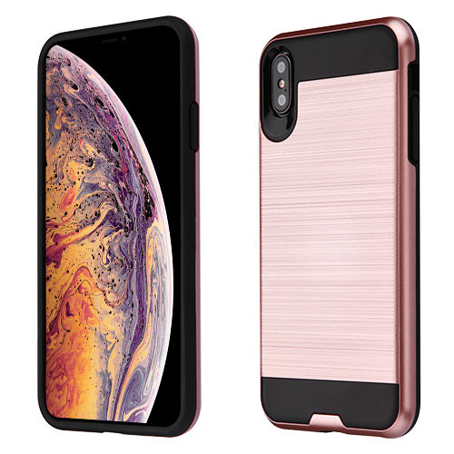 Asmyna Brushed Hybrid Protector Cover for Apple iPhone XS Max - Rose Gold / Black