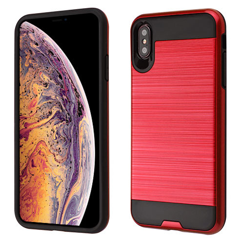 Asmyna Brushed Hybrid Protector Cover for Apple iPhone XS Max - Red / Black