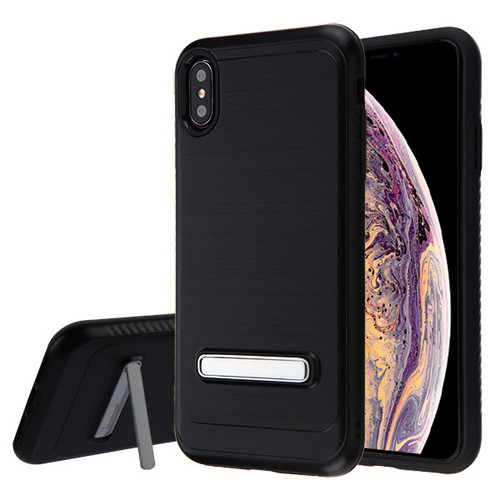 Asmyna Hybrid Protector Cover (with Magnetic Metal Stand) for Apple iPhone XS Max - Black Brushed & Carbon Fiber Accent / Black