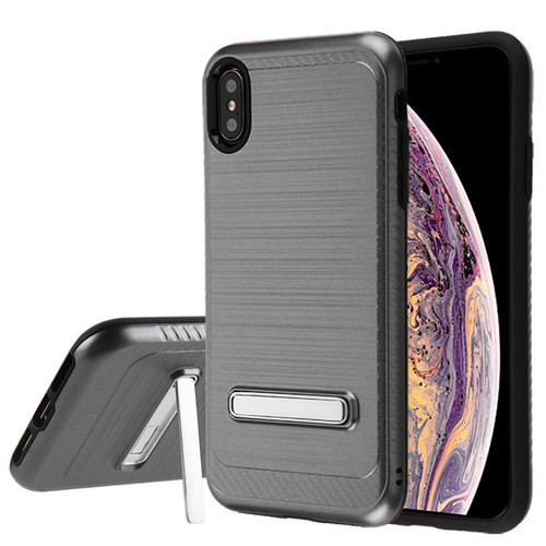 Asmyna Hybrid Protector Cover (with Magnetic Metal Stand) for Apple iPhone XS Max - Space Gray Brushed & Carbon Fiber Accent / Black