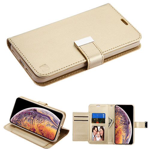 Asmyna MyJacket Wallet Xtra Series for Apple iPhone XS Max - Gold / Gold