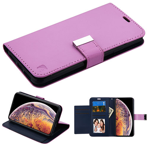 Asmyna MyJacket Wallet Xtra Series for Apple iPhone XS Max - Purple / Dark Blue