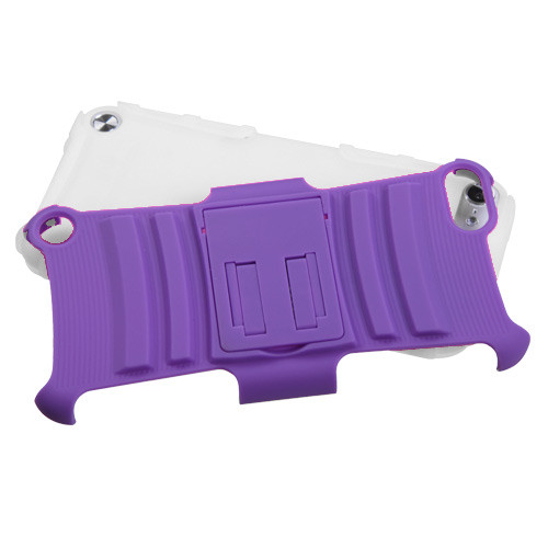 Asmyna Advanced Armor Stand Protector Cover for Apple iPod touch (5th generation) - Purple / Solid White