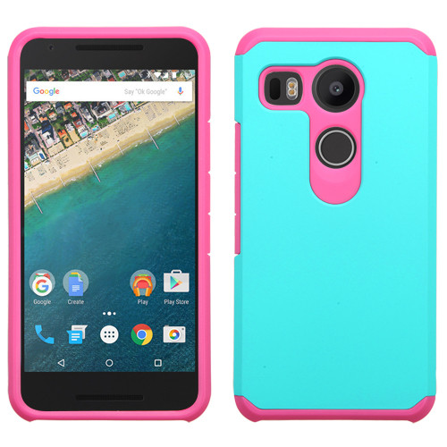 Asmyna Astronoot Protector Cover for Lg H790 (Nexus 5X) - Teal Green / Hot Pink