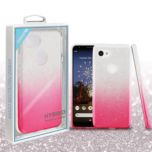 Asmyna Gradient Glitter Hybrid Protector Cover for Google Pixel 3a - Pink