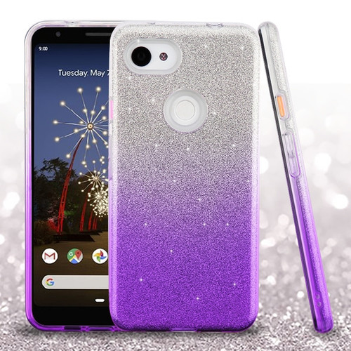 Asmyna Gradient Glitter Hybrid Protector Cover for Google Pixel 3a XL - Purple
