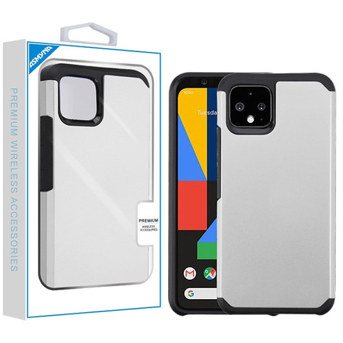 Asmyna Astronoot Protector Cover for Google Pixel 4 - Silver / Black