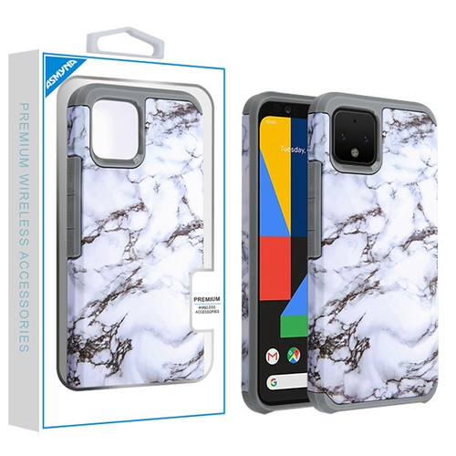 Asmyna Astronoot Protector Cover for Google Pixel 4 - White Marbling / Iron Grey
