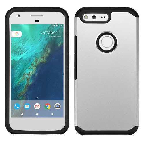 Asmyna Astronoot Protector Cover for Google Pixel (5.0) - Silver / Black