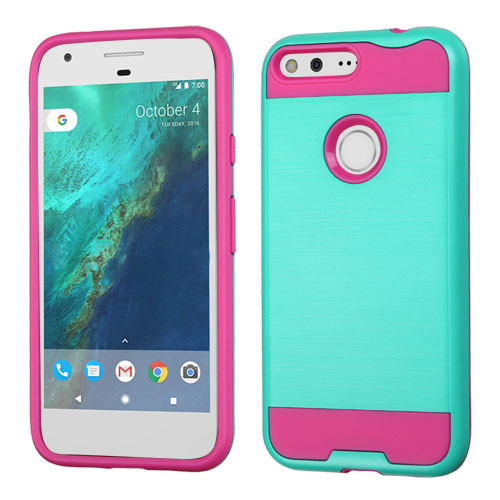 Asmyna Brushed Hybrid Protector Cover for Google Pixel (5.0) - Teal Green / Hot Pink