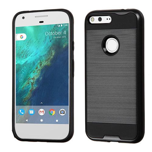 Asmyna Brushed Hybrid Protector Cover for Google Pixel XL (5.5) - Black / Black
