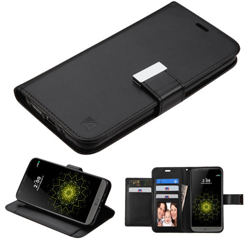 Asmyna MyJacket Wallet Xtra Series for Lg G5 - Black / Black