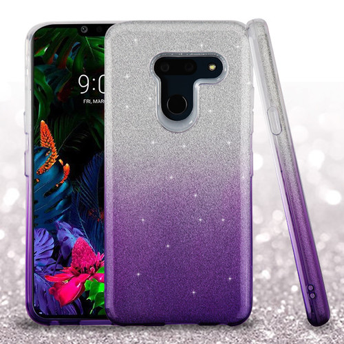 Asmyna Gradient Glitter Hybrid Protector Cover for Lg G8 ThinQ - Purple