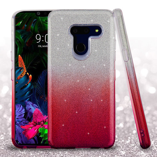 Asmyna Gradient Glitter Hybrid Protector Cover for Lg G8 ThinQ - Pink