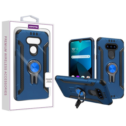 Asmyna Hybrid Protector Cover (with Ring Stand) for Lg Harmony 4 - Ink Blue / Black