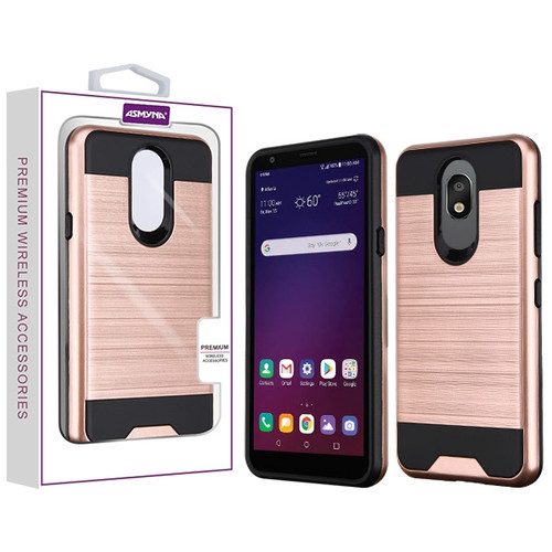 Asmyna Brushed Hybrid Protector Cover for Lg X320 (Escape Plus) - Rose Gold / Black