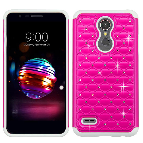 Asmyna FullStar Protector Cover for Lg K10 (2018) - Hot Pink / Solid White