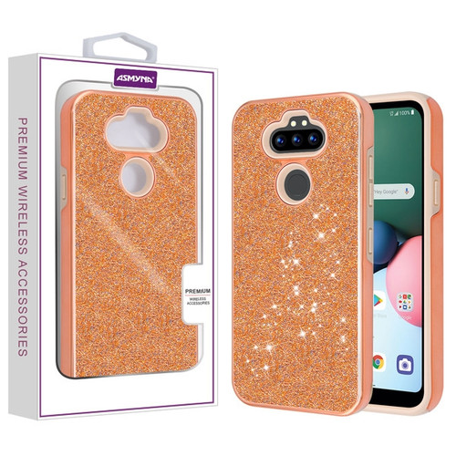 Asmyna Encrusted Rhinestones Hybrid Case for Lg K31 (Aristo 5)/Fortune 3 - Electroplated Rose Gold / Rose Gold