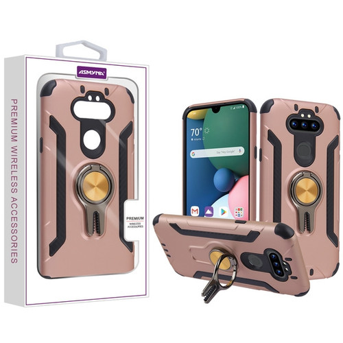 Asmyna Hybrid Protector Cover (with Ring Stand) for Lg Phoenix 5 - Rose Gold / Black