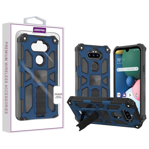 Asmyna Sturdy Hybrid Protector Cover (with Stand) for Lg Phoenix 5 - Ink Blue / Black