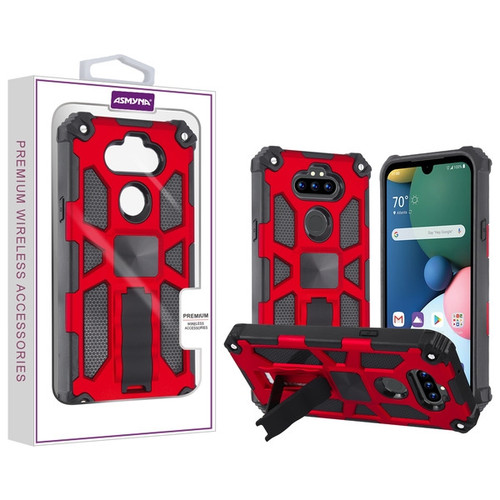 Asmyna Sturdy Hybrid Protector Cover (with Stand) for Lg Phoenix 5 - Red / Black