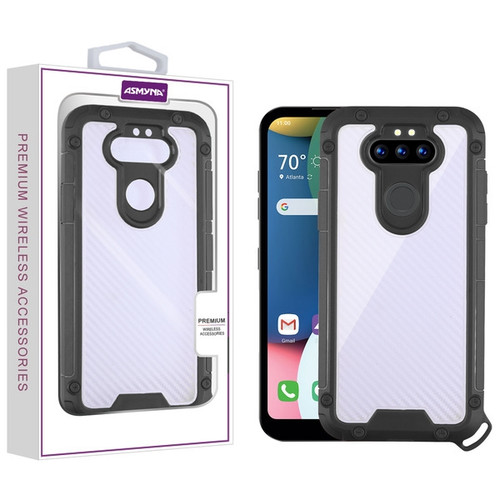 Asmyna Hybrid Case for Lg Phoenix 5 - Transparent Clear Carbon Fiber Texture / Black