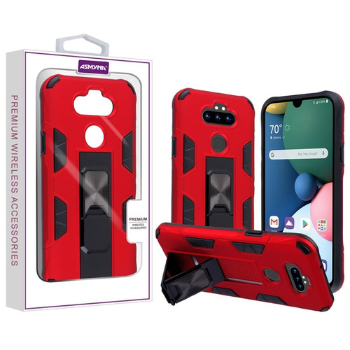 Asmyna Hybrid Case (with Stand) for Lg Phoenix 5 - Red / Black