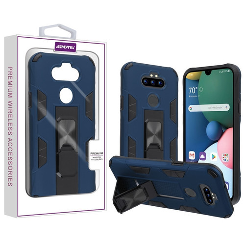 Asmyna Hybrid Case (with Stand) for Lg Phoenix 5 - Ink Blue / Black