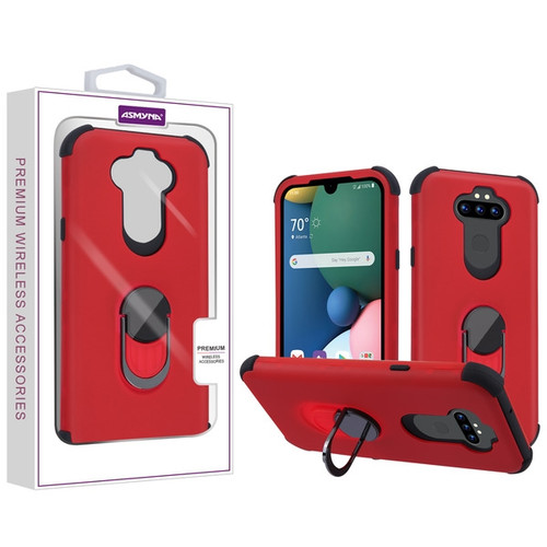 Asmyna Rubberized Hybrid Case (with Ring Stand) for Lg Phoenix 5 - Red / Black