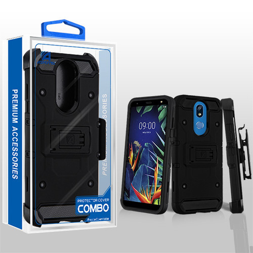 Asmyna Kinetic Hybrid Protector Cover Combo (with Black Holster) for Lg K40 - Black / Black