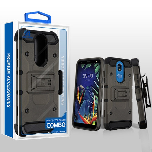 Asmyna Kinetic Hybrid Protector Cover Combo (with Black Holster) for Lg K40 - Dark Grey / Black