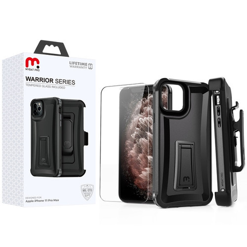 MyBat Pro Warrior Series Hybrid Case Combo (with Black Holster)(Tempered Glass Screen Protector) for Apple iPhone 11 Pro Max - Natural Black / Black