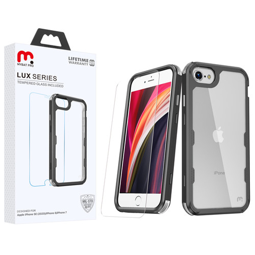 MyBat Pro Lux Series Hybrid Case (Tempered Glass Screen Protector)[Military-Grade Certified] for Apple iPhone SE (2020) - Black / Transparent Clear