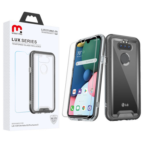 MyBat Pro Lux Series Hybrid Case (Tempered Glass Screen Protector) for Lg K31 (Aristo 5)/Fortune 3 - Black / Transparent Clear