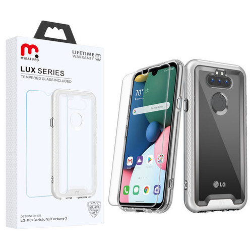 MyBat Pro Lux Series Hybrid Case (Tempered Glass Screen Protector) for Lg K31 (Aristo 5)/Fortune 3 - Silver / Transparent Clear