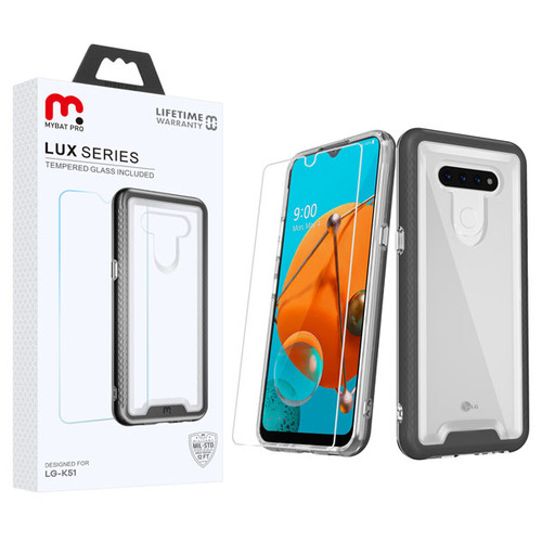 MyBat Pro Lux Series Hybrid Case (Tempered Glass Screen Protector) for Lg K51 - Black / Transparent Clear