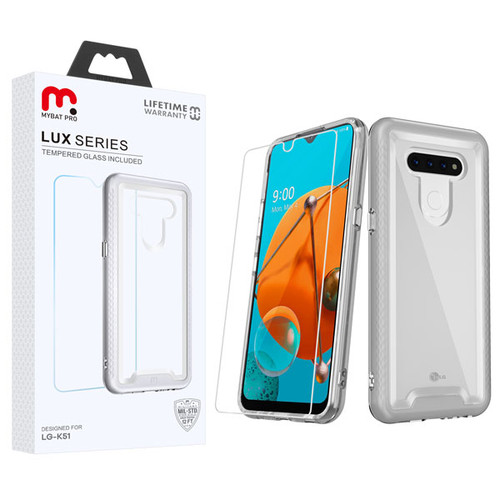 MyBat Pro Lux Series Hybrid Case (Tempered Glass Screen Protector) for Lg K51 - Silver / Transparent Clear