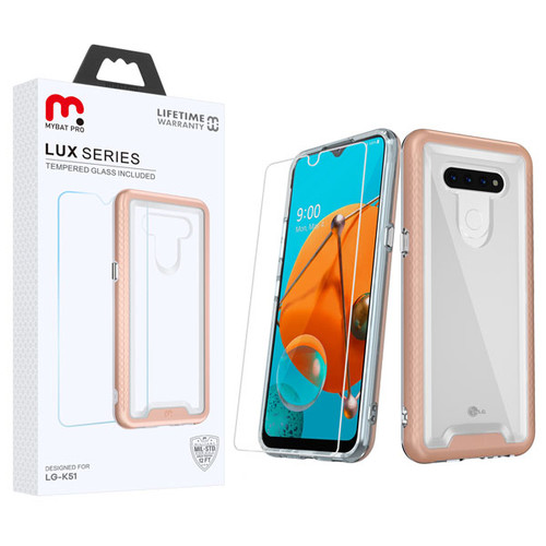 MyBat Pro Lux Series Hybrid Case (Tempered Glass Screen Protector) for Lg K51 - Rose Gold / Transparent Clear