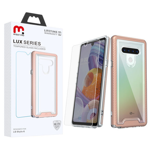 MyBat Pro Lux Series Hybrid Case (Tempered Glass Screen Protector) for Lg Stylo 6 - Rose Gold / Transparent Clear