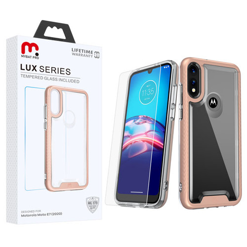 MyBat Pro Lux Series Hybrid Case (Tempered Glass Screen Protector) for Motorola Moto E (2020) - Rose Gold / Transparent Clear