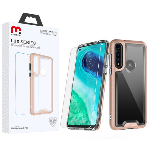MyBat Pro Lux Series Hybrid Case (Tempered Glass Screen Protector) for Motorola Moto G Fast - Rose Gold / Transparent Clear