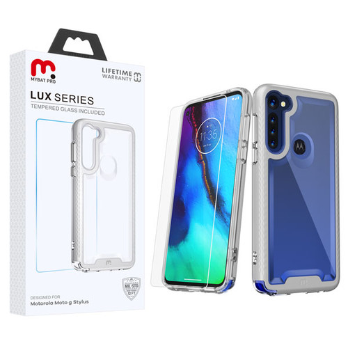 MyBat Pro Lux Series Hybrid Case (Tempered Glass Screen Protector) for Motorola Moto G Stylus - Silver / Transparent Clear