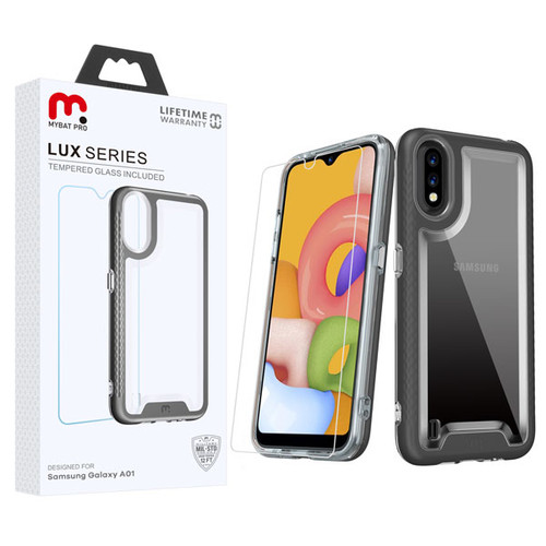 MyBat Pro Lux Series Hybrid Case (Tempered Glass Screen Protector) for Samsung Galaxy A01 - Black / Transparent Clear