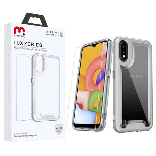 MyBat Pro Lux Series Hybrid Case (Tempered Glass Screen Protector) for Samsung Galaxy A01 - Silver / Transparent Clear