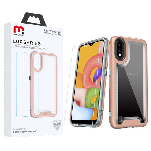 MyBat Pro Lux Series Hybrid Case (Tempered Glass Screen Protector) for Samsung Galaxy A01 - Rose Gold / Transparent Clear