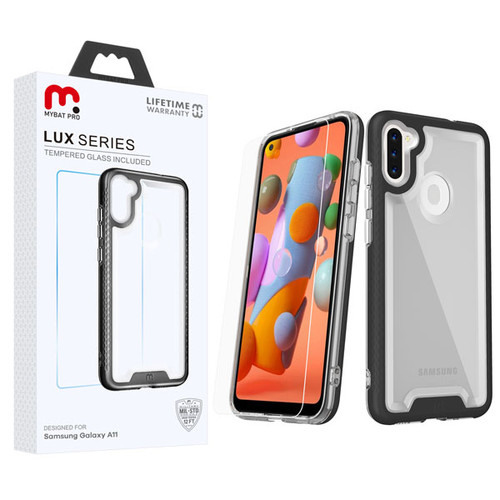 MyBat Pro Lux Series Hybrid Case (Tempered Glass Screen Protector) for Samsung Galaxy A11 - Black / Transparent Clear